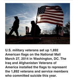 US military veterans set up 1,892 American flags on the National Mall March 27, 2014 in Washington, DC. The Iraq and Afghanistan Veterans of America installed the flags to represent the 1,892 veterans and servicemembers who committed suicide this year.