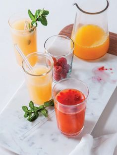 Anti-Aging Juice Recipe - 1 cup raspberries, 1 tangerine, and 2 oranges - from Pressed Juicery's new Juice recipe book