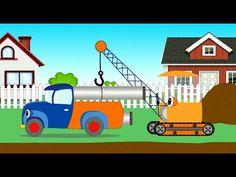 Подъемный кран и трудолюбивый грузовичок работают вместе. Мультики про м...