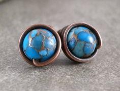 Kingman Turquoise Stud Earrings Rustic Copper Wire by RuthAndJack