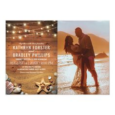 Shop Rustic Starfish Beach Lights Photo Wedding Invitation created by special_stationery. Burgundy Wedding Invitations, Destination Wedding Invitations, Simple Wedding Invitations, Wedding Stationery, Destination Weddings, Wedding Anniversary Cards, Wedding Cards, Beach Lighting, Nautical Wedding