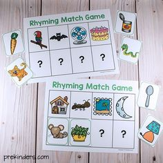 Rhyming Match Games (from Pre-K Pages) Rhyming Kindergarten, Rhyming Activities, Phonics Games, Free Preschool, Kindergarten Literacy, Preschool Learning, Jolly Phonics, Literacy Centers, Preschool Planner