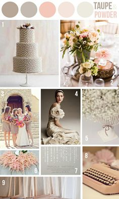 Taupe & Powder Pink Wedding Color Scheme | 2014 Wedding Trends #wedding #trends #colors