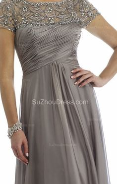 Grey Mother of the Bride Dresses Scoop Beading Floor Length Elegant Zipper A Line Chiffon Evening Gowns