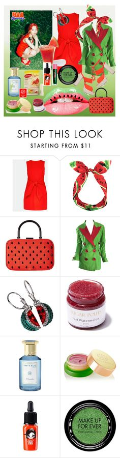 """""""watermelon"""" by kanares ❤ liked on Polyvore featuring Ted Baker, Lulu in the Sky, Alice + Olivia, Gemma Kahng, D. Benoit, Shay & Blue, Carmex, Tata Harper, peripera and MAKE UP FOR EVER"""