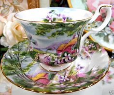 ROYAL ALBERT TEA CUP AND SAUCER DINGLE DELL PATTERN COUNTRY SCENES SERIES
