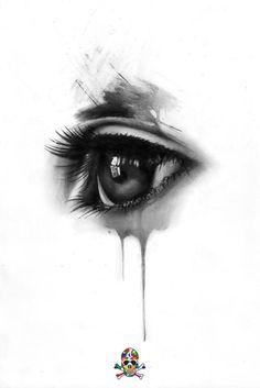 Dark Art Drawings, Pencil Art Drawings, Tattoo Drawings, Elegant Tattoos, Beautiful Tattoos, Ojo Tattoo, Berlin Tattoo, Tears Art, Creepy Eyes