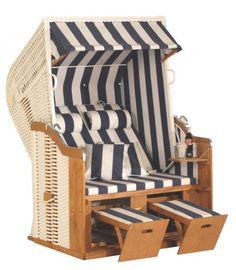 Eurita Strandkorb  Knight Blue & White Luxury Garden/beach Lounge Chair - get in my backyard, please.