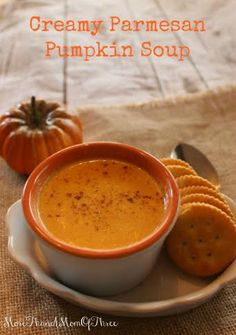 Creamy Parmesan Pumpkin Soup is a perfect addition to those chilly winter or fall dinners. Or have it for an easy lunch option to warm you up.