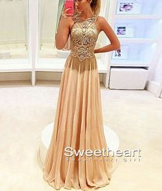 Champagne A-line Round Neck Chiffon beaded long Prom Dress