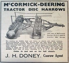 April 1942 advertisement for McCormick-Deering tractor disc harrows, available through Coorow agent James H. Doney