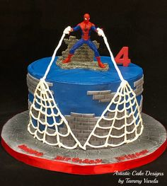 Spiderman Cake Ideas for Little Super Heroes - Novelty Birthday Cakes Novelty Birthday Cakes, Homemade Birthday Cakes, Birthday Cakes For Men, Cakes For Boys, 4th Birthday, Spiderman Cake Topper, Spiderman Birthday Cake, Superhero Cake, Cupcakes