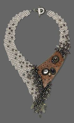 Bib-Style Necklace with Seed Beads, Leather and Gemstone Cabochons FMG Contest
