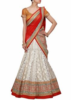 lehenga choli in white and mustard with gotta zari work by Kalki Indian Wedding Outfits, Indian Outfits, Indian Clothes, Ethnic Clothes, Lehenga Designs, Indian Reception Dress, Reception Dresses, Pakistani Bridal Wear, Bridal Lehenga