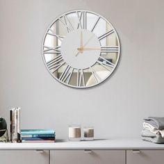 Mirror clock clock real mirror mirrored wall clock white | Etsy Rustic Wall Clocks, Rustic Walls, Wooden Walls, Mirror Wall Clock, Wood Mirror, Extra Large Wall Clock, Home Clock, Wood Pendant Light, White Mirror