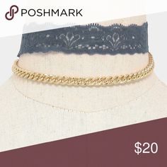 """Lace + Metal Choker (2PC) • Color : Gold, Grey  • Lace Choker Size : 12"""" + 3"""" L, 1"""" H • Chain Size : 12.5"""" + 2.5"""" L • 2 PCS - Lace choker + metal chain necklace Jewelry Necklaces"""