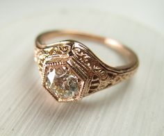 Filigrane Antik Vintage Engagement Diamond Ring Rotgold von spexton