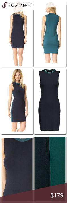 rag & bone Color block Dress Rag & bone midnight-blue and petrol Lucine dress. Stretch-knit. Metallic ribbed neckline. Slips on. 86% viscose, 12% nylon, 2% spandex; trim: 79% viscose, 19% nylon, 2% spandex. Dry clean. Fits true to size, take your normal size. Designed for a close fit. Lightweight knit. Color: blue rag & bone Dresses Mini