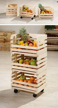 Yesterday findest of the die weltbesten DIY Party Deko Bastelideen! - MENDY - The Sunday decor idea: Vegetable storage on wheels – Deco # # - Diy Holz, Wood Crates, Wooden Boxes, Wooden Benches, Wooden Rack, Milk Crates, Pallet Wood, Pallet Furniture, Furniture Ideas
