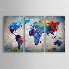Peint à la main AbstraitModern Trois Panneaux Toile Peinture à l'huile Hang-peint For Décoration d'intérieur de 4545041 2016 à €117.59