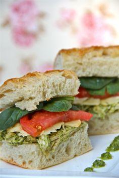 Pesto Chicken Salad Sandwich on Ciabatta