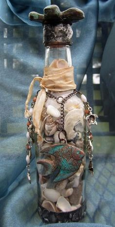 Altered bottle with beach theme ~ love it