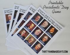 Printable Presidents' Day Game