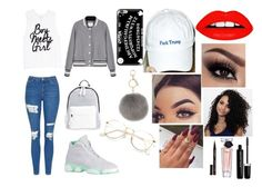 """""""Untitled #41"""" by faithy123bae ❤ liked on Polyvore featuring Topshop, Poverty Flats, Casetify, L.K.Bennett, The High Rise, Smith & Cult, Lancôme and Marc Jacobs"""