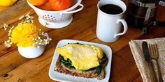 Popeye would be pleased with this open-faced egg sandwich! It has 3 full cups of fresh spinach atop toast with Canadian bacon and scrambled eggs.