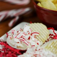 White Chocolate-Peppermint Potato Chips Recipe Lunch and Snacks, Desserts with potato chips, white chocolate, shortening, peppermint extract, candy canes