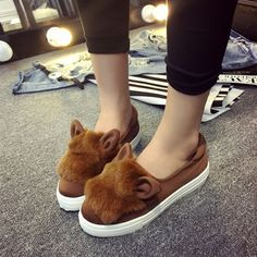 Fashion Women Boots Winter Rabbit Fur Women Flats Shoes Leopard Casual Ladies Winter Boots Shoes