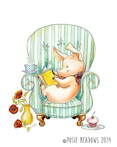 Armchair Adventures  Pig Watercolor Giclee Print by PosieMeadows, $7.00