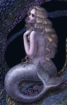 Purple & blue mermaid art