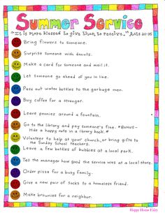 summer serve ideas at happy home fairy - free printable. I LOVE these ideas! Especially giving water bottles to the garbage men!