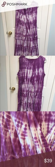 """Tye tied dress with empire waist Catherines 100% cotton, tie dyed dress with elastic at waist.  Worn only once.  Very comfortable and stylish.  Length from shoulder to bottom is 46"""". Catherines Dresses Midi"""