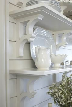 Plank Walls - never enough shelves! New Kitchen, Kitchen Decor, Kitchen Shelves, Grace Kitchen, Kitchen White, Kitchen Counters, Bathroom Shelves, Kitchen Tiles, Countertops
