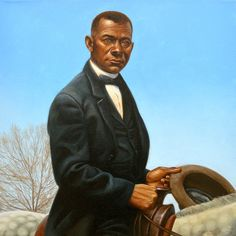 """""""Booker T Washington"""" Original illustration fro Heart and Soul by Kadir Nelson available at the R. Michelson Galleries"""