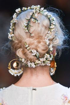 Awesome floral details with braids at Dolce and Gabbana s/s 2014