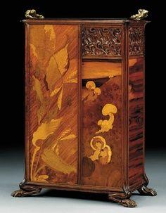Art Nouveau Carved Mahogany, Fruitwood Inlay & Bronze Umbrella Stand by Émile Gallé 1900