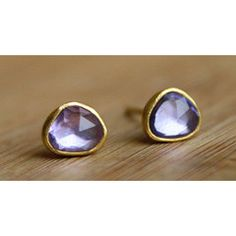rosecut sapphire studs-22K ~ sarah perlis. Super cute and simple, plus they're my favorite color!