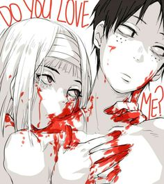 """Bloody anime couple Guro   """"How can I love another, when I can't even love myself?"""" """"Well it's Simple. You don't! Just live up to the temporary pleasures while it still last, my dear."""" O.V.D.M"""