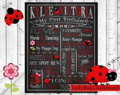 First Birthday Chalkboard Printable, 1st Birthday Chalkboard Poster, Ladybug Birthday, Ladybug Chalkboard, Red & Black Ladybugs, Any Size