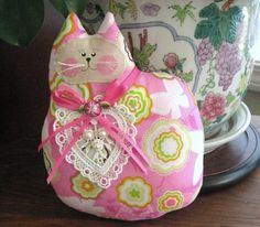 Valentine's Day Cat Pillow Doll Cloth Doll PINK by CharlotteStyle, $14.00