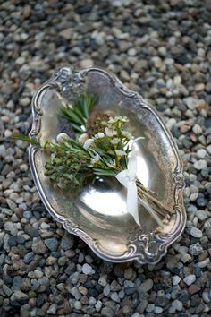 old silver and tiny bouquets