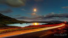 Reasonably clear skies on a moonlit night near Maam cross, Connemara, Ireland -by Conor Ledwith