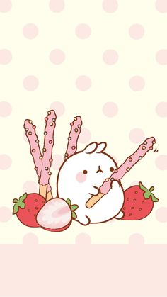 Moland Pink Strawberry Pocky Wallpaper