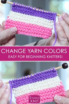 Learn how to Change Yarn Colors when Knitting for Beginning Knitters with Studio Knit - Watch Free Knitting Video Tutorial So helpful! Learn how to Change Yarn Colors when Knitting for Beginning Knitters with Studio Knit - Watch Fre Knitting Help, Knitting For Beginners, Knitting Videos, Knitting Stitches, Knitting Needles, Knitting Yarn, Start Knitting, Knitting Blanket Patterns, Knitting Blankets