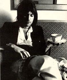 Freddie Mercury with tea.