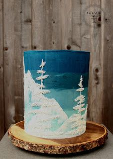 Grace Cakery: Mountain Bliss! Painted buttercream cake #paintedcake #snowmountain #allbuttercream
