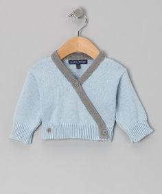 Love this Loralin Design Sky Blue & Gray Wrap Sweater on #zulily! #zulilyfinds